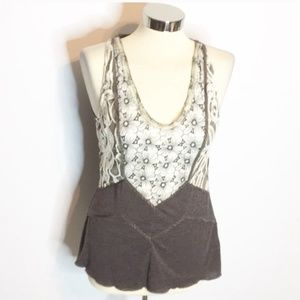 Anthropologie Tiny lace shimmer tank top